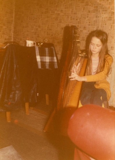 The first ever time Patsy played the harp!